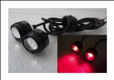 Button LED bolts projector lens red led, CNC black case LED rear lights x2